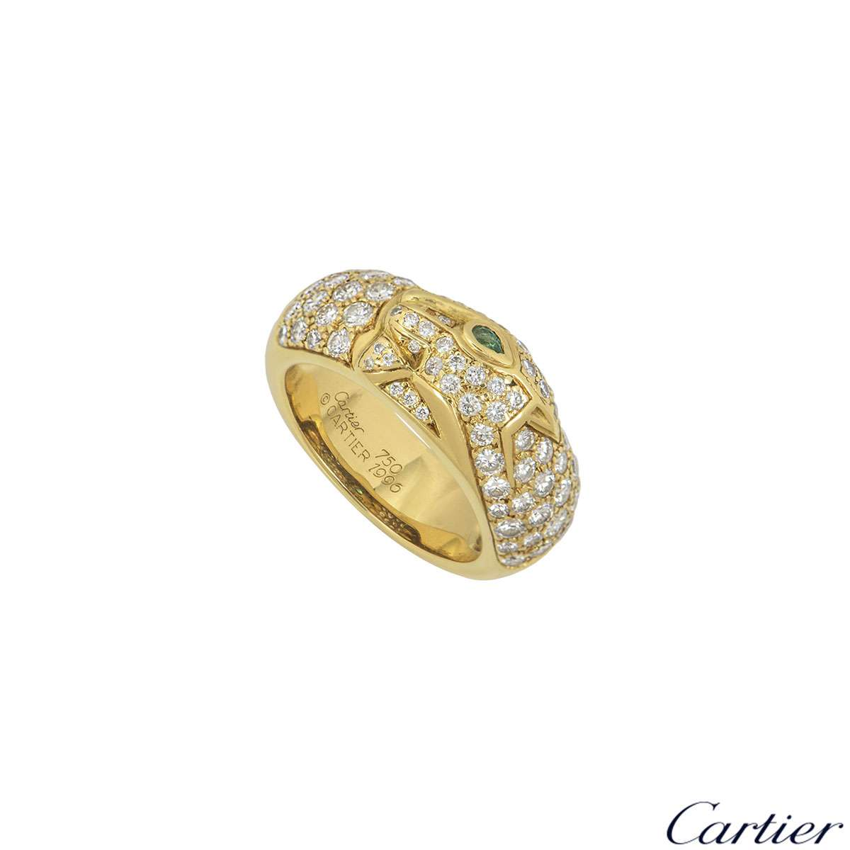 Cartier 18k Yellow Gold Diamond Set Panthere Ring